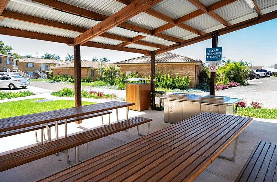Accessible BBQ Area and Picnic Tables Seaside Holiday Resort Fingal Bay Port Stephens NSW