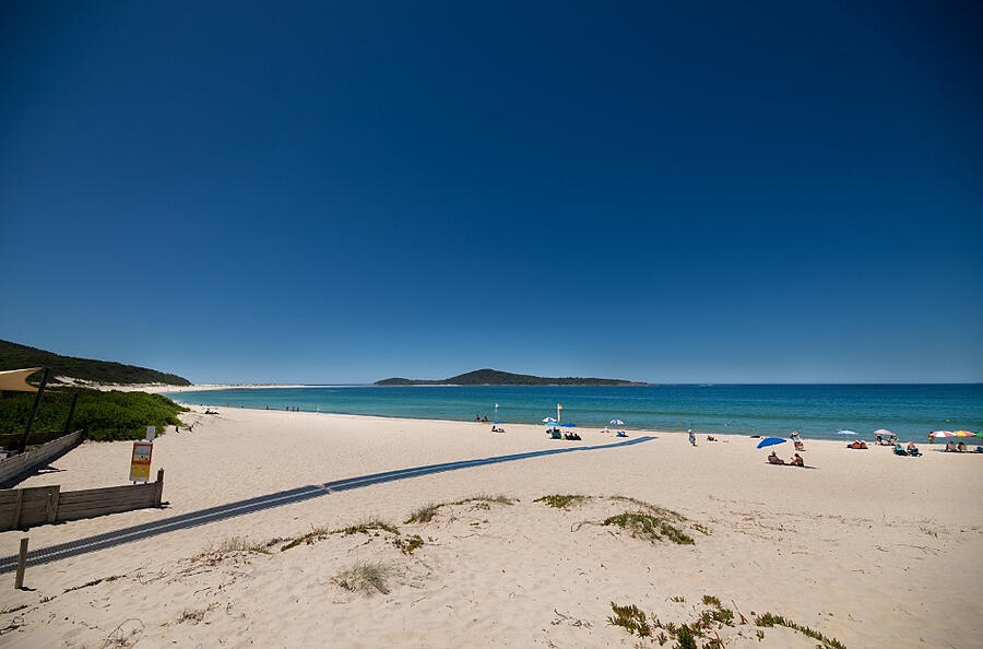 Accessible Mobi Mat Access to Fingal Beach across road from Seaside Holiday Resort Fingal Bay Port Stephens NSW